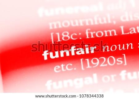funfair word in a dictionary. funfair concept