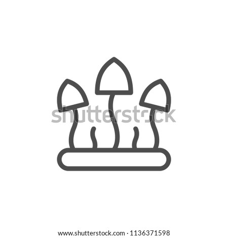 Fungus line icon isolated on white