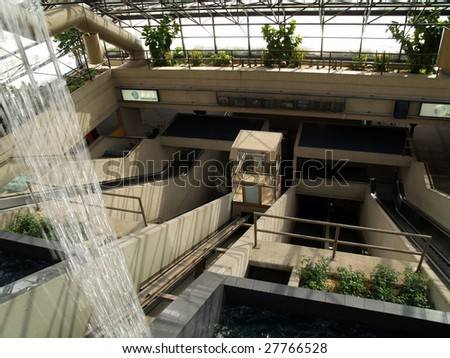Funicular accends in the Edmonton Convention Center, Alberta Canada.  The building is built into the side of a valley and lends itself to this elevator style device