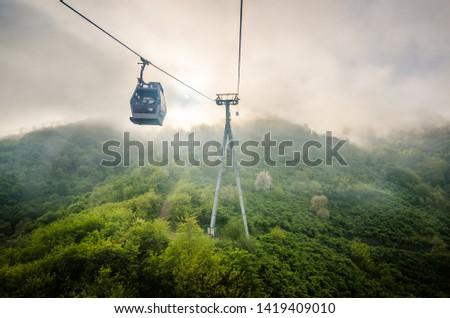 Funicular in fog in Turkish city Ordu by the Black Sea Stok fotoğraf ©