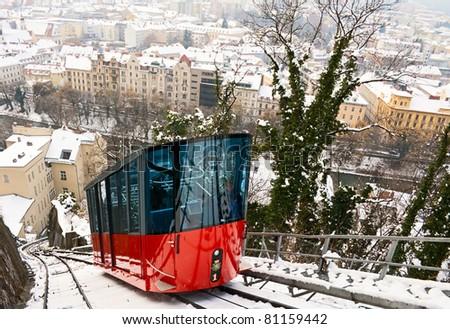 Funicular is climbing to Schlossberg in Graz, Austria.
