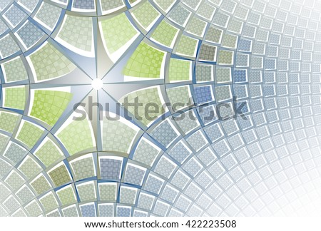 Funky blue, green and teal abstract 3D star design on white background  #422223508