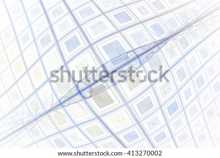 Funky blue / grey abstract bulging spindle design on white background  #413270002