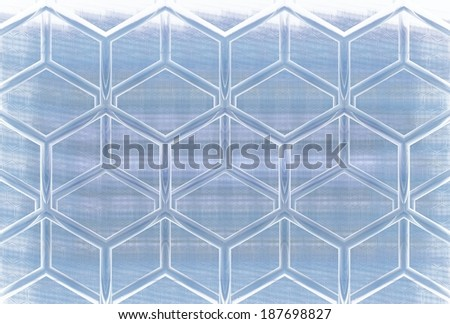 Funky blue / white abstract woven ice / hexagon design on white background