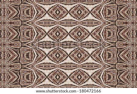 Funky brown / orange abstract geometric pattern on white background