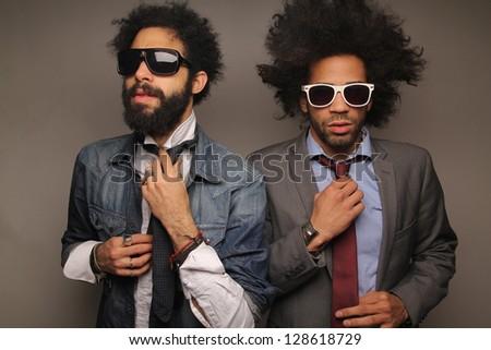 Funky fashion Afro men - stock photo