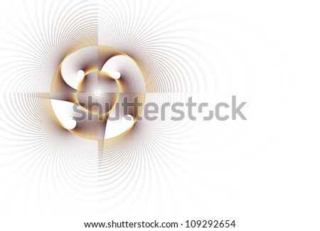 Funky gold / brown / copper abstract fan / flower on white background