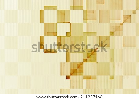 Funky gold / tan / white checkered string design on white background