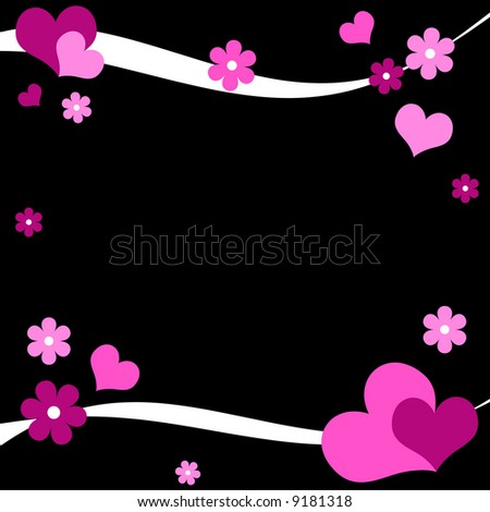 Funky hearts and flowers on black background - stock photo