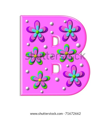 "Funky hot pink letter, B, is part of an alpha called ""Alpha Bumpy"" and is filled with 3D Flowers and white polka dots.  Each Flower has four layers."