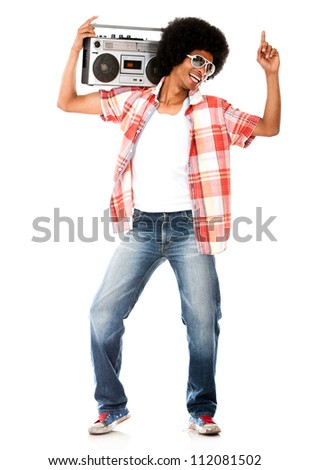 Funky man listening to music on the radio isolated over a white background