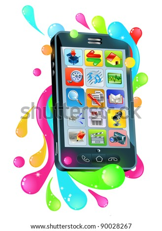 Funky modern mobile phone smartphone jelly bubble concept