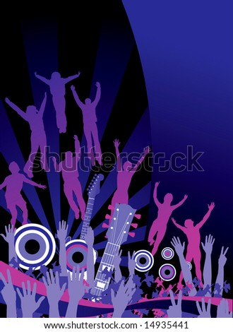 Funky music party in shades of blue and purple with space for text