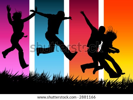 pictures of people running. stock photo : Funky people running and jumping.