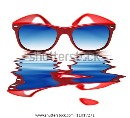 Funky red sunglasses, with warped reflection