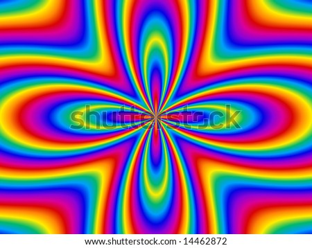Funky retro flower in bands of rainbow colors.