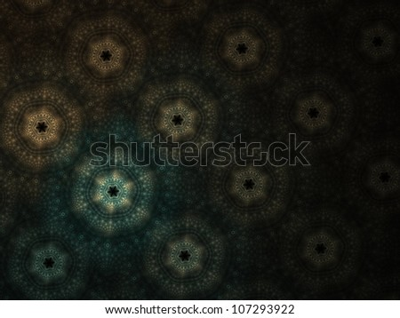 Funky teal and orange fractal star / flowers on black background