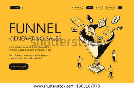 Funnel generating sales illustration for digital marketing and e-business technology. Trade and commerce for money profit in isometric black thin line web design on yellow halftone background