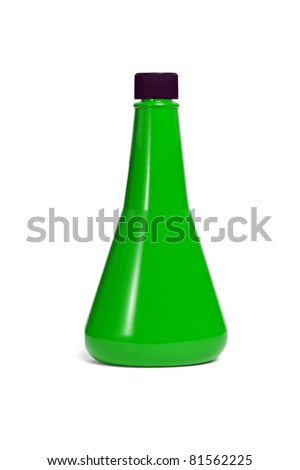 Funnel shape green plastic container with cap on white background