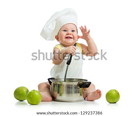 funny adorable baby with green apples isolated on white background