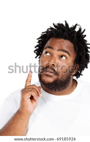 funny african american man daydreaming