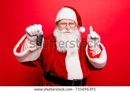 Funny aged grandfather in red traditional outfit and headwear. X mas noel surprise time! Success, happiness, dream, december, buyer, ownership, property, purchase, rent, sell, cars concept #735696391