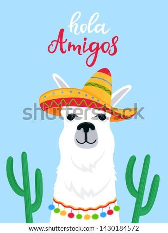 Funny alpaca in a Mexican sombrero. Hola Amigos hand drawn lettering. Foto stock ©