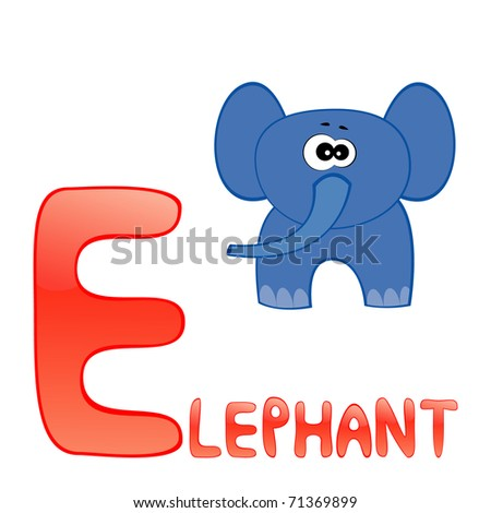 Funny alphabet for children. Elephant - letter E.