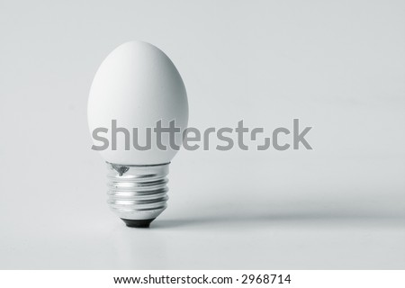 Funny and crazy egg looking like electric bulb