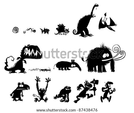Funny Animal and Human Silhouettes.