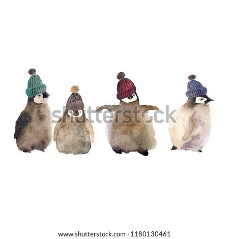 Funny animals: watercolor cartoon penguin chicks with woolen hats isolated on white