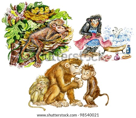 Funny anthropomorphic monkeys: sleeping in the nest on tree branch, bathing a dog pet, monkey dad shaking his fist at naughty son. Isolated on white.