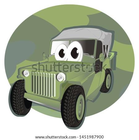 funny army car on army icon