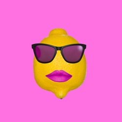Funny art collage. Concept lemon wearing sunglasses, with pink lips on a pink background.