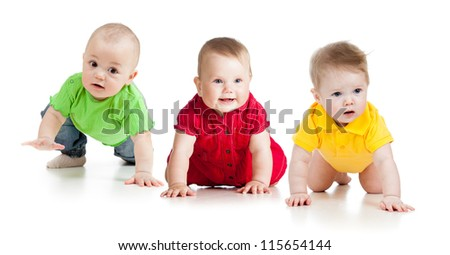 funny babies go down on all fours