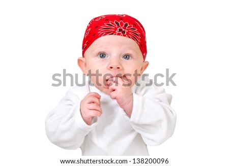 Funny Baby Boy in Headscarf Isolated on the White Background