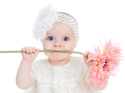 funny baby girl with flower