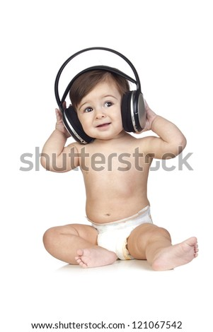 Funny Baby in Diapers Listening to Music Isolated on White