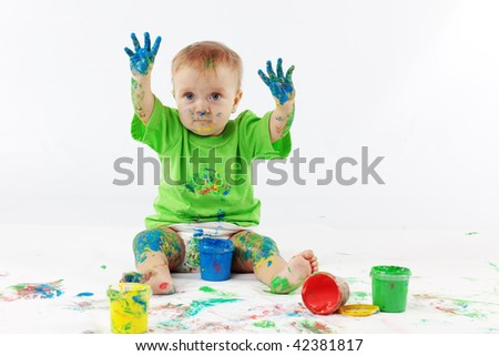Funny baby painter