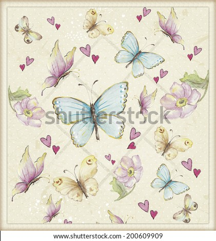 funny background with butterflies