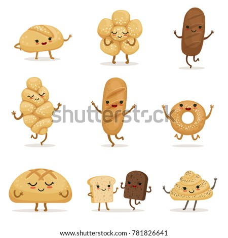 Funny bakery food with different emotions. characters in cartoon style. Face character bread illustration