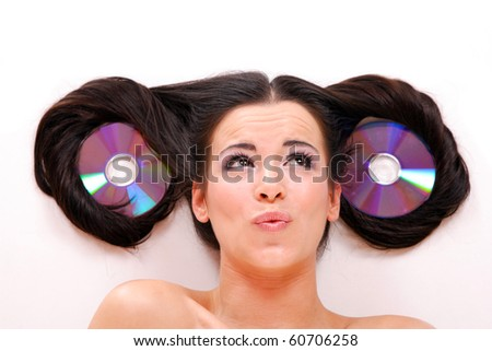 Funny Beautiful young woman  Listening to Music