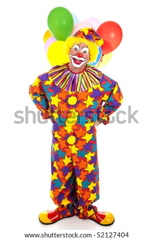 Funny birthday clown with balloons against a white background.