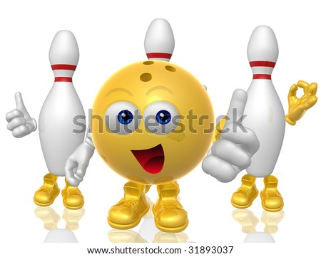 Funny bowling ball figure and pins