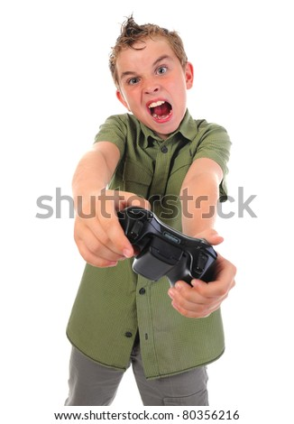 funny boy with a joystick isolated on white background