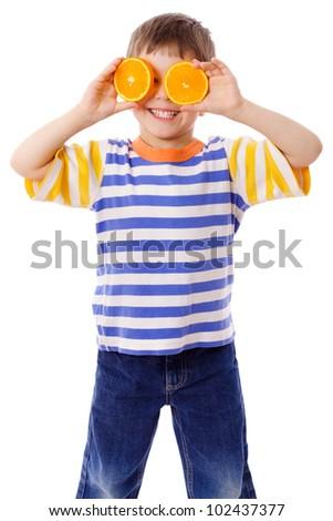 Funny boy with fruits on eyes, isolated on white - stock photo