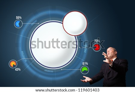 funny businessman in suit presenting abstract modern pie chart with copy space