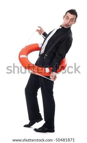 Funny businessman inside lifebuoy