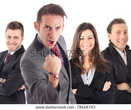 Funny businessman raising his fist in sign of success.