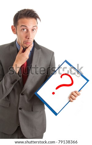Funny businessman showing a question mark